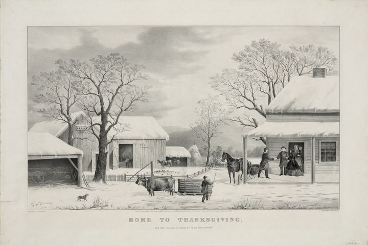 Thanksgiving rural black and white