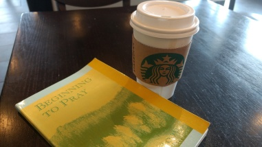 Beginning to Pray book and coffee